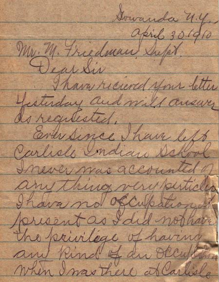 Letter from Isaac Johnny John Student File