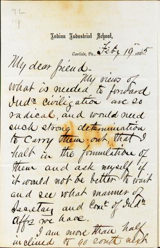 Letter from Richard H. Pratt to Cornelius R. Agnew, February 19, 1885