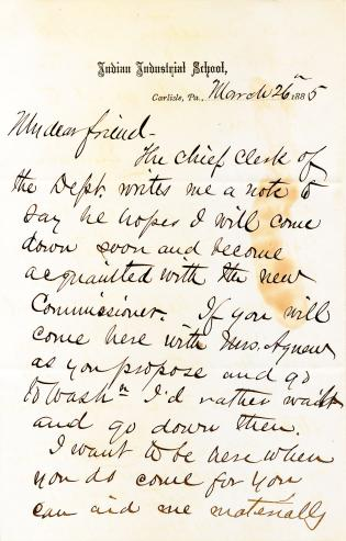 Letter from Richard H. Pratt to Cornelius R. Agnew, March 26, 1885