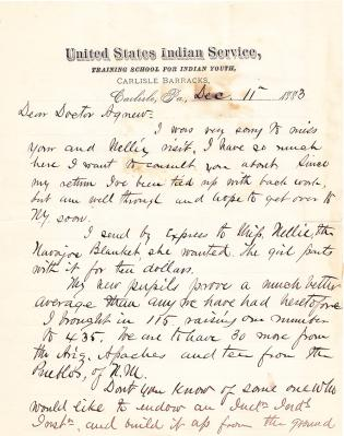 Letter from Richard H. Pratt to Cornelius R. Agnew, December 11, 1883
