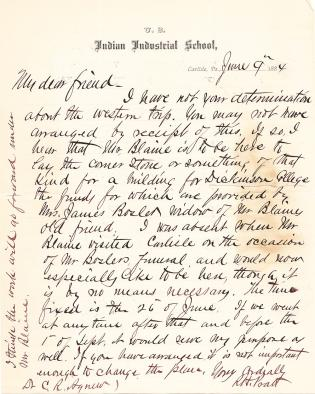 Letter from Richard H. Pratt to Cornelius R. Agnew, June 9, 1884