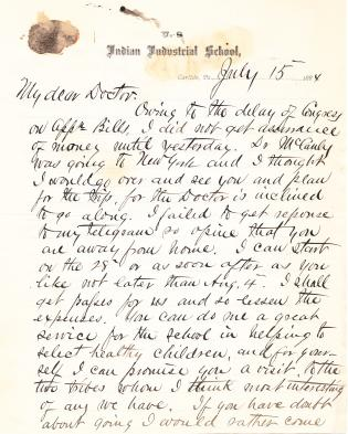 Letter from Richard H. Pratt to Cornelius R. Agnew, July 15, 1884