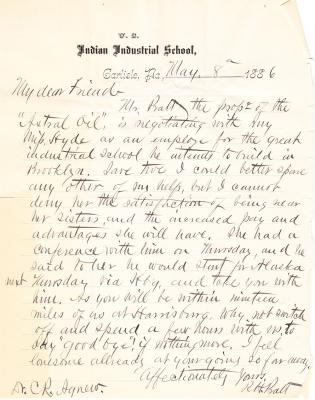 Letter from Richard H. Pratt to Cornelius R. Agnew, May 8, 1886