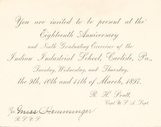 1897 Commencement Invitation and Brief Program