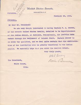 Personnel File of William A. Mercer, Superintendent