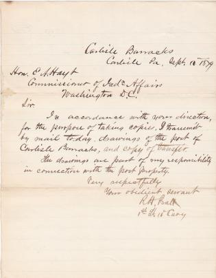 Letter About Drawings of Carlisle Barracks