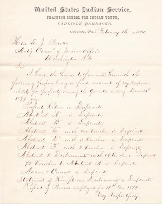 Forwarded Cash and Property Accounts for Fourth Quarter 1879