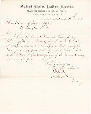 Return of Medical Property and Transfer of Hospital Supplies for Fourth Quarter 1879