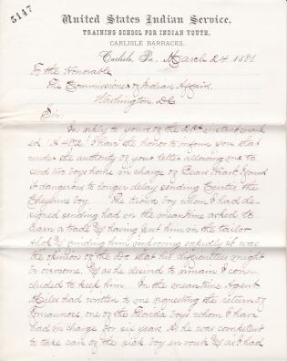 Notice of Sending Curtis and Roman Nose Home