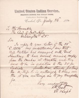 Reply to Office Letter Concerning Omaha Delegation in 1882