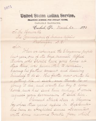 Request to Return Alfred Brown and Clement Black Deer Home