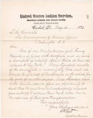 Request to Send Home Fannie Merrick and Mary Tyndall
