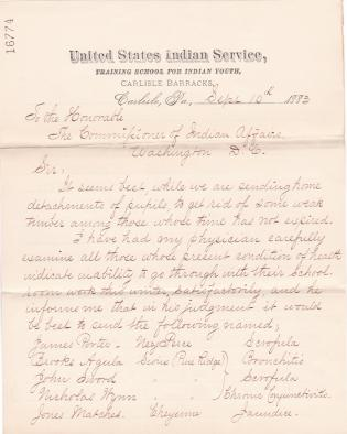 Request to Return Ill Students in 1883