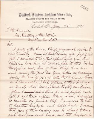 Request for Pawnee Chiefs to Travel East
