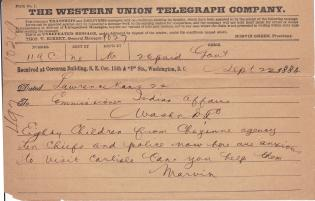 Cheyenne Agency Request to Visit the Carlisle Indian School