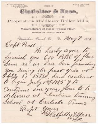 Contract for Flour for the 1885 Fiscal Year