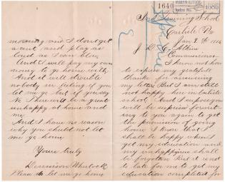 Dennison Wheelock Letter to Commissioner of Indian Affairs