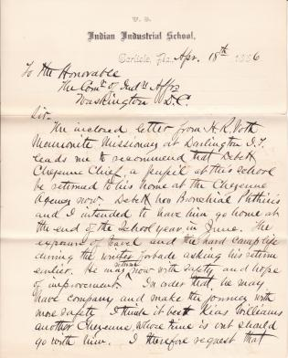 Request to Return De Bett Cheyenne Chief and Kise Williams