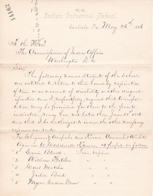 List of Students to be Returned to their Homes for June 1886