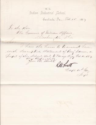 Descriptive Statement of Pupil Discharged to Navajo Agency, 1887