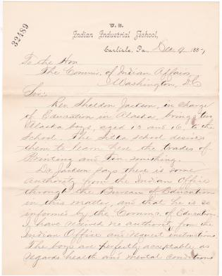 Request to Enroll Two Alaskan Students at the Carlisle Indian School