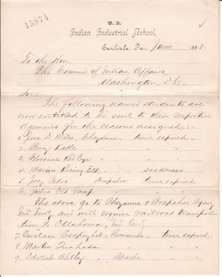 List of Students to be Returned to their Homes for June 1888