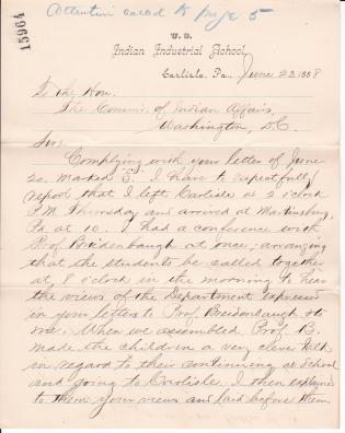 Report on the Transfer of Students from the Martinsburg Indian School to Carlisle