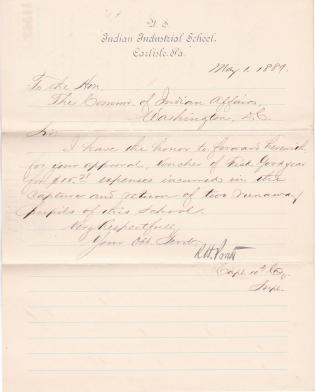 Voucher Covering Expenses to Recover Two Runaway Students in 1889
