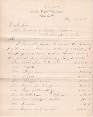 Proposed List of Positions and Salaries for Fiscal Year 1889-1890