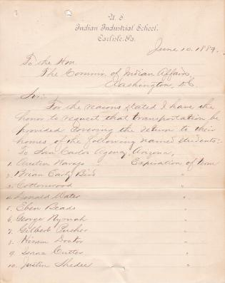List of Students to be Returned to their Homes for June 1889