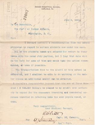 Request to Return Six Ill Students in June 1890
