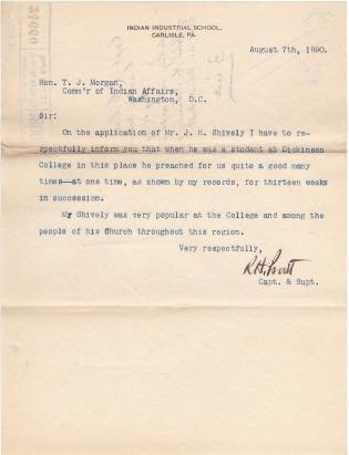 John H. Schively's Application for Position at the Arapaho School
