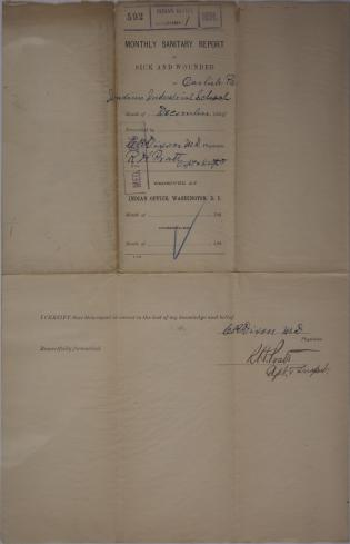 Monthly Sanitary Report of Sick and Wounded, December 1890