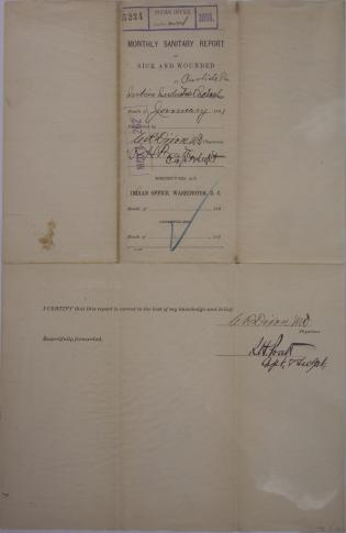Monthly Sanitary Report of Sick and Wounded, January 1891