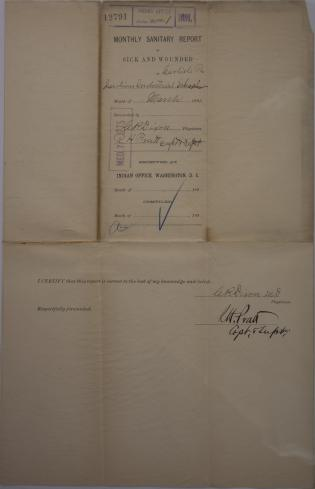 Monthly Sanitary Report of Sick and Wounded, March 1891