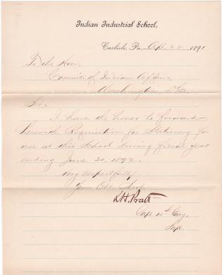 Pratt Forwards Requisition for Stationery, Fiscal Year 1891-1892