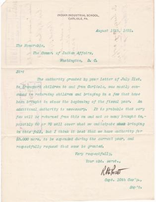 Request for Additional Transportation Funds in Fiscal Year 1891