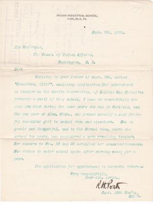 Recommendation for Lillian May Cornelius (#4158b) for Position as a Teacher