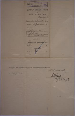 Monthly Sanitary Report of Sick and Wounded, September 1891