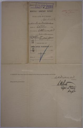 Monthly Sanitary Report of Sick and Wounded, October 1891