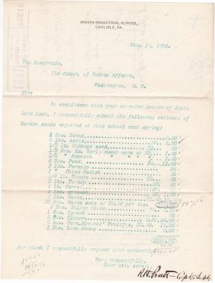 Request to Purchase Seeds for the Carlisle Indian School