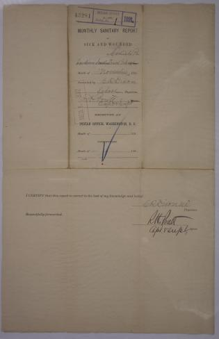 Monthly Sanitary Report of Sick and Wounded, November 1891