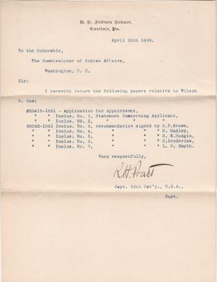 Pratt Returns Papers Associated with Application of Wilson H. Cox