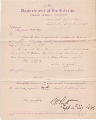 Helen A. Lord's Application for Leave of Absence