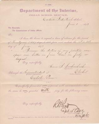 Anna S. Luckenbach's Application for Leave of Absence