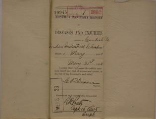 Monthly Sanitary Report of Diseases and Injuries, May 1893