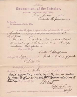 Lillie R. Shaffner's Request for Leave of Absence