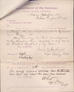 Annie M. Worthington's Application for Leave of Absence
