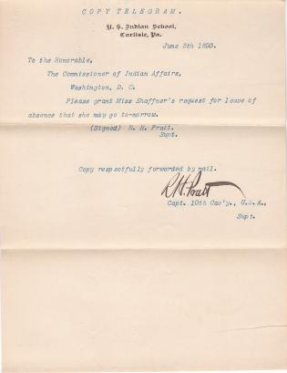 Attention Called to Lillie R. Shaffner's Request for Leave of Absence (Letter)