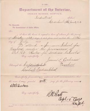 Jennie P. Cochran's Request for Leave of Absence to Attend Summer School